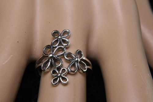 Sterling Silver Vented Fancy Frollicking Flowers Ring (Ass't Sizes)