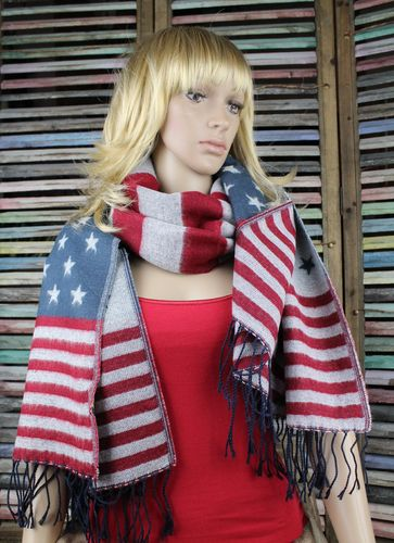 Red, Grey & Blue Stars & Stripes American Flag Reversible Scarf Wrap Shawl