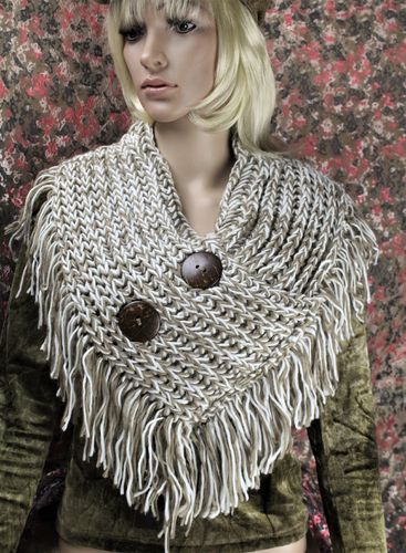 Ivory & Brown Wooden Button Detail Two Tone V-Neck Collar Fringe Knit Scarf