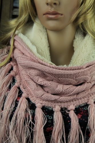 Pink and Crème Fleece Lined Cable Knit Snood Infinity Scarf with Fringe Tassels