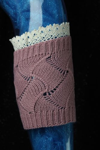 Cutie Pie Patterned Knit Leg Warmers Boot Toppers w/Ivory Lace-Blue or Mauve