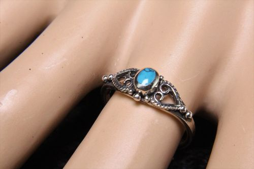 Celtic Hearts Sterling Silver Ring with Faux Turquoise Stone Sweet and Petite