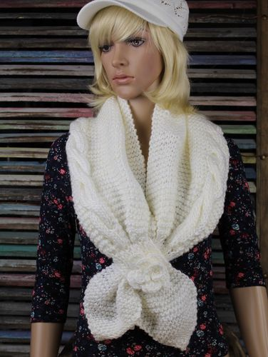 Knitted Shrug Scarf with Cable Knit Flower Floral Faux Tie (3 Colors)