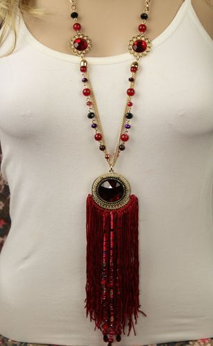 Long Tribal Fringe Necklace Set W/ Large Colored Rhinestones, Filigree & Yarn Tassels(Red or Brown)