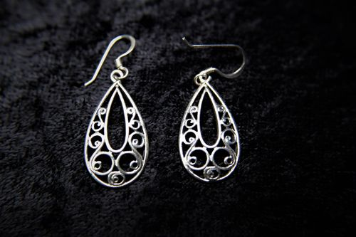 Elegant Sterling Silver Filigree Scroll Teardrop Earrings 1.5 Dangle Length