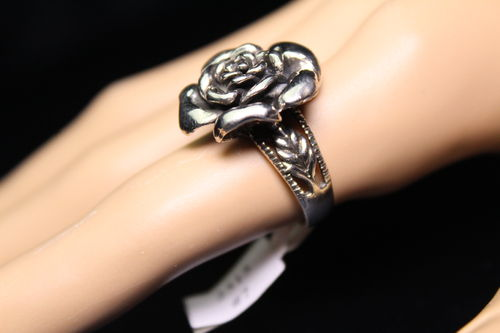 Sterling Silver Rose Ring Victorian Statement Ornate Band w/ Leaf (ass't sizes)