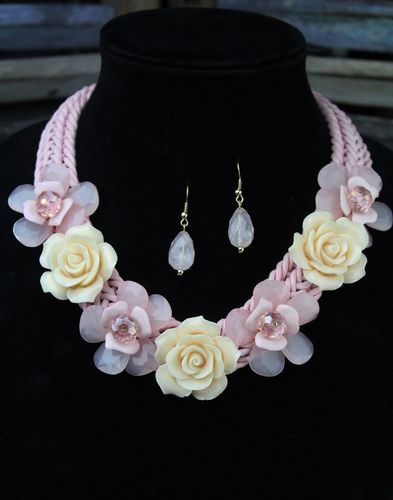 Pink & Ivory Flower Braided Rope Statement Necklace w/ Pale Pink Drop Earring