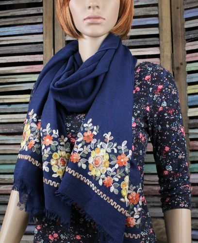 Colorful Scarf W/ Lovely Detailed Floral Embroidery & Frayed Edges-Lightweight (4 Colors)