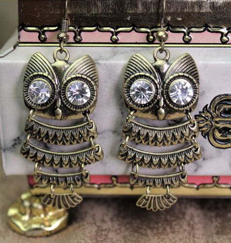 Burnished Metal Owl Earrings Highly Detailed with Rhinestone Eyes (Gold or Silver)