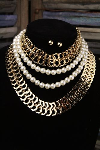 3 Layer Pearl & Chains Choker Necklaces-Dramatic Statement W/Earrings (Gold or Silver)