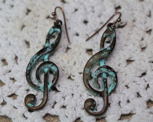 "Shabby Chic Patinated Verdigris Metal Treble Clef Earrings- 2 1/2"" Dangle"