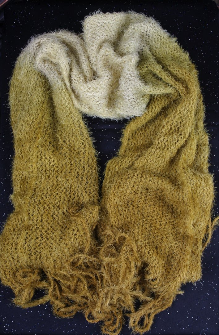 Fuzzy Fringe Turtle Neck Scarf - 2-Tone, Super Soft Tubular Design