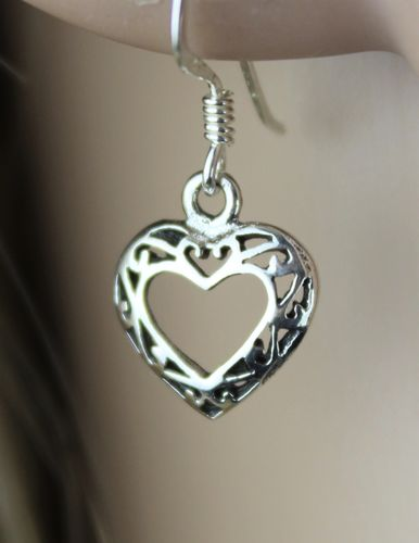 Dainty Sterling Silver 3D Filigree Celtic Heart and Love Earrings