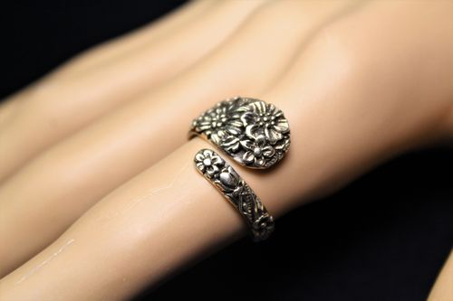 Sterling Silver Floral Spoon Ring - Elaborate Victorian Style (Ass't Sizes)