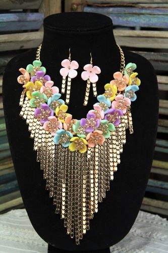 Chunky Pastel Flowers with Gold Chain Fringe Bib  Necklace With Matching Floral Earrings