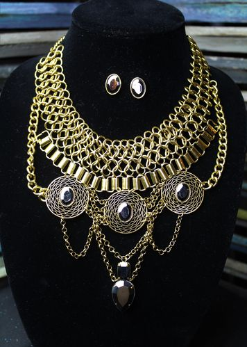 Burnished Gold Chunky Statement Necklace & Earring Set With Multiple Ornate Chains & Mirrored Stones