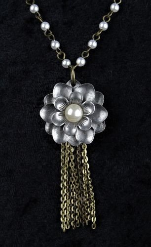 Bohemian Flower and Pearl Necklace Pearl and Brass Chain with Fringe (Handmade)