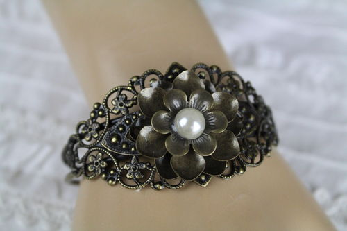 Shabby Chic Brass Filigree 3D Flower with Pearl Center Arm Cuff Bracelet (Handmade)
