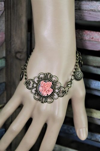 Romantic Brass Filigree & Rose Charm Bracelet With Hearts & Keys (Handmade)