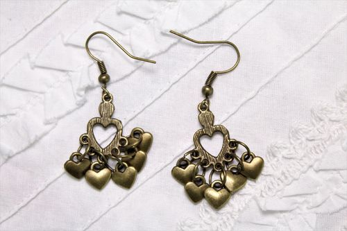 "Dainty Brass Heart Chandelier Earrings with Cozy Cluster of Brass Heart Charms 1.5"" Long (Handmade)"