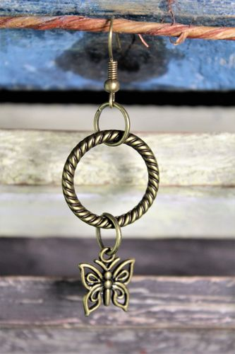 "Brass Rope Textured Ring With Butterfly Charm Dangle Earrings 2"" Long (Handmade)"
