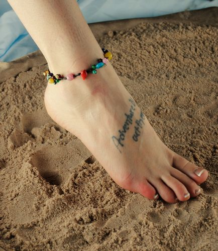Multi-Color Stones Anklet Ankle Bracelet on Boho Brown Waxed Twine Band