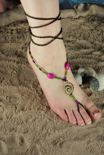 Seashell & Beads Barefoot Sandal Colored Stones on Braided Wraparound Twine