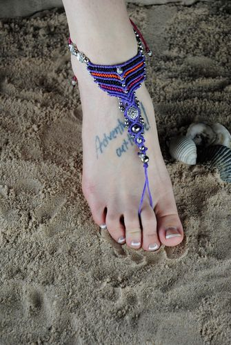 Woven Cotton Barefoot Sandal Slave Anklet Chevron Multi Color Beads with Pearls
