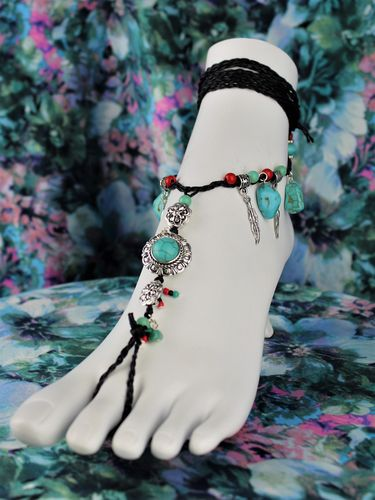 Turquoise and Silver Barefoot Sandals Charms Beads Black Lace Tribal Boho Style (1 Pair)