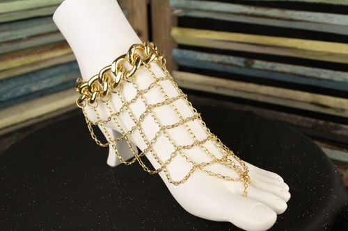 Bold and Gold Slave Anklet Chain Mesh Draping Foot Chain Barefoot Sandal