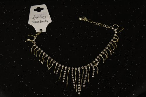 Crystal Accent Fringe Anklet Ankle Bracelet Sparkling Chain and Rhinestones (Silver or Gold)