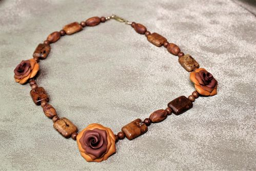 Brown/Orange Polymer Clay Flower & Gemstones Necklace (Handmade)