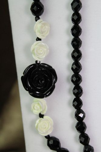 Black Czech Glass Double Strand Necklace with Roses (Handmade)