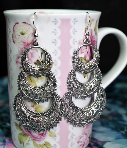 Long Antique Silver Chandelier Triple Hoop Earrings (Handmade)
