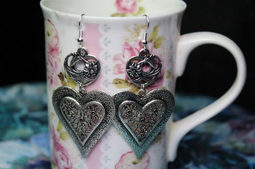 Large Hearts and Flowers Earrings (Handmade)