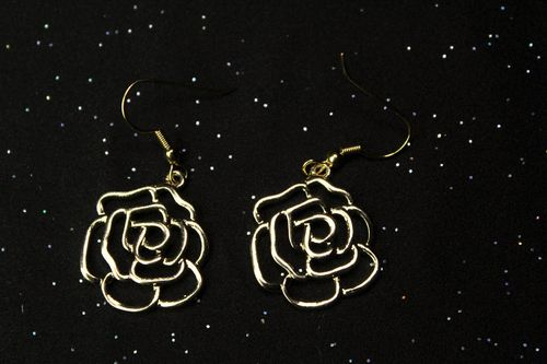 Gold Vented Flower Earrings (Handmade)