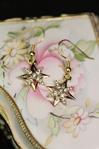 Tiny Gold Star and Crystal Earrings (Handmade)