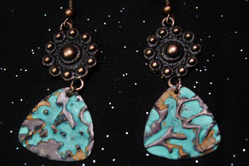 Embossed Copper Tideline Patina Guitar Pick Charm Earrings (Handmade)