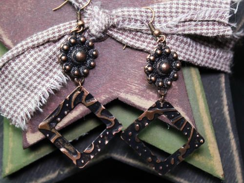 Square Embossed Copper Dangle Earrings (Handmade)