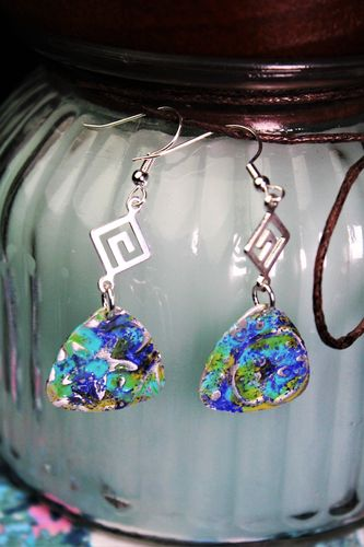 Sea Glass Patina Guitar Pick Earrings (Handmade)