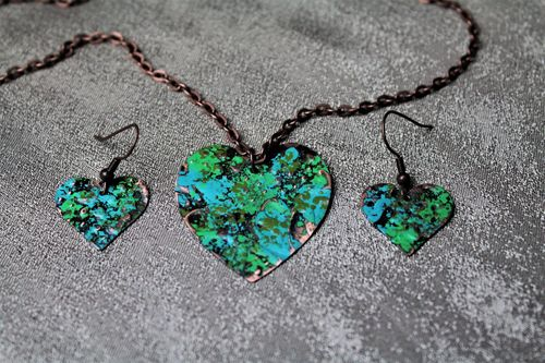 Copper River Run Patina Heart Necklace and Earring Set (Handmade)