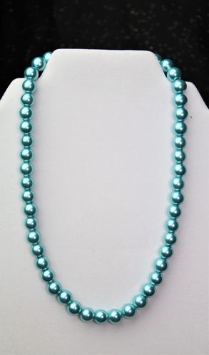 Ice Blue Glass Pearl Necklace 10mm/18 1/2 in. (Handmade)