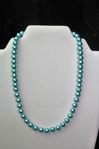 Ice Blue Pearl Necklace w/Blue Water Czech Glass Beads (Handmade)