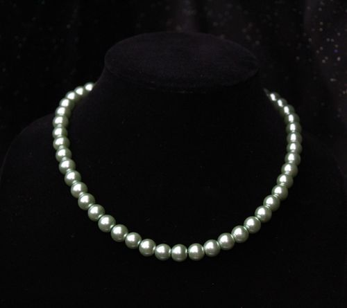 Sage Green Glass Pearl Necklace (Handmade)