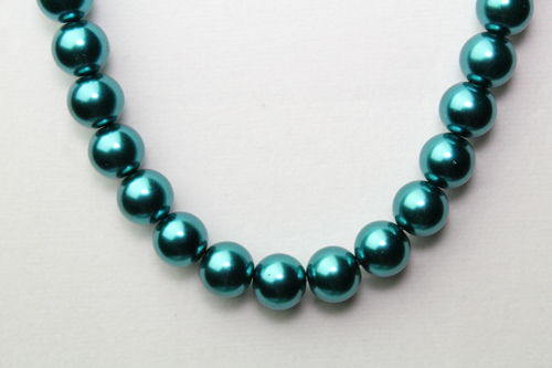 "Teal Glass Pearl Necklace 18"" (Handmade)"