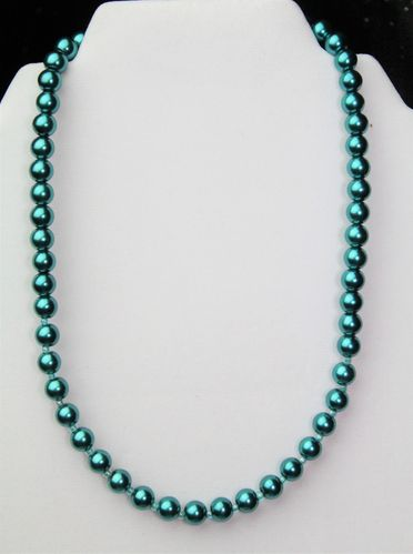 "Teal Glass Pearl Necklace w/Ocean Green Czech Glass Beads 18"" (Handmade)"