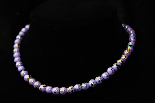 "Lilac Luster Glass Bead Necklace 16"" (Handmade)"