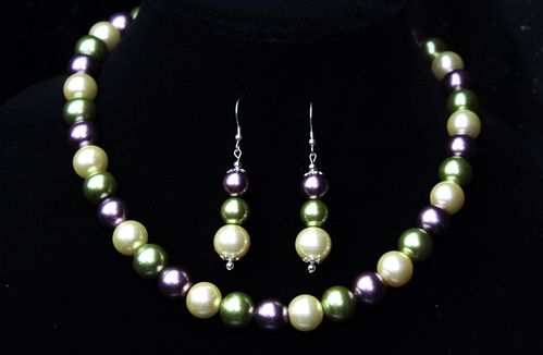 Multi Color Glass Pearl Necklace and Earring Set (Handmade)