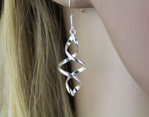 Sterling Silver Earrings Spiral Twist Design 1 3/4 inches Long