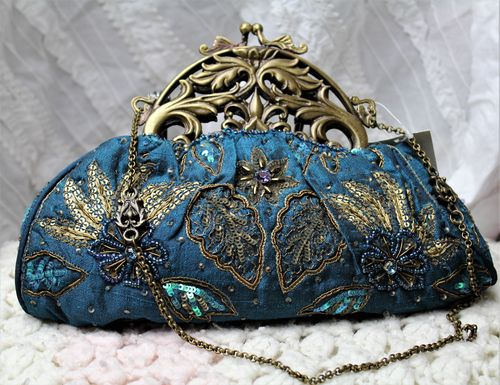Regal Royal Blue Victorian Evening Bag with Hand Embroidery and Beading (Artisan Designer)